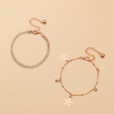 Simple cheville sauvage étoile de mer mode pleine chaîne de diamant plage double cheville nihaojewelry gros NHNZ214482's discount tags