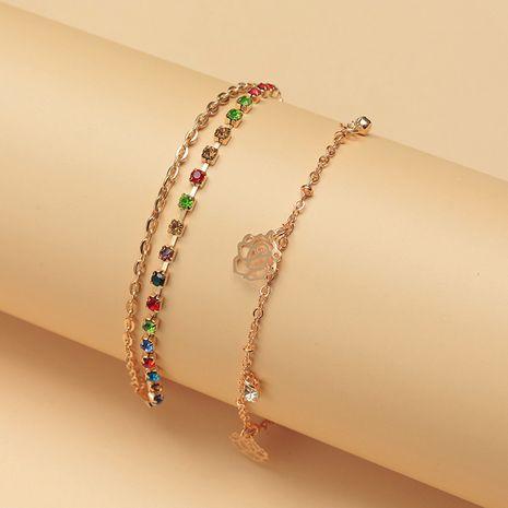 Fashion retro claw chain color diamond bracelet simple wild flower pendant bracelet nihaojewelry wholesale NHNZ214483's discount tags