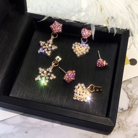 Korean new peach heart color diamond earrings cute stars diamond earrings nihaojewelry wholesale NHXI214492's discount tags