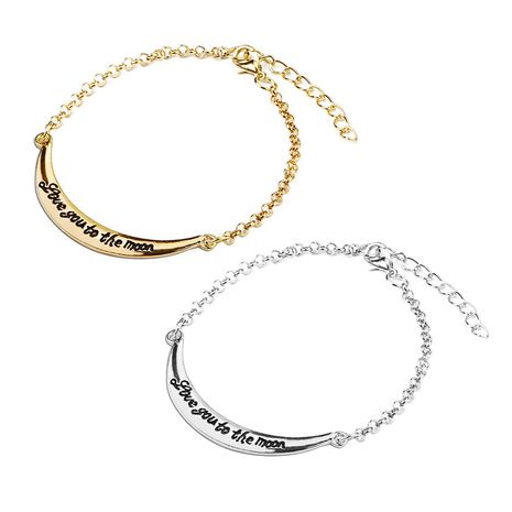 New simple lettering letters love you to the moon retro bracelet nihaojewelry wholesale NHMO214496's discount tags