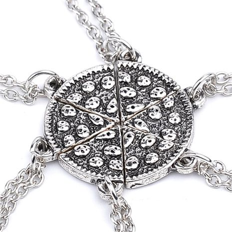 New fashion six-petal stitching good friend cute pizza necklace nihaojewelry wholesale NHMO214497's discount tags