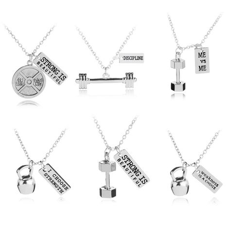 New fashion Weakness is a choice English alphabet small kettlebell necklace nihaojewelry wholesale NHMO214498's discount tags