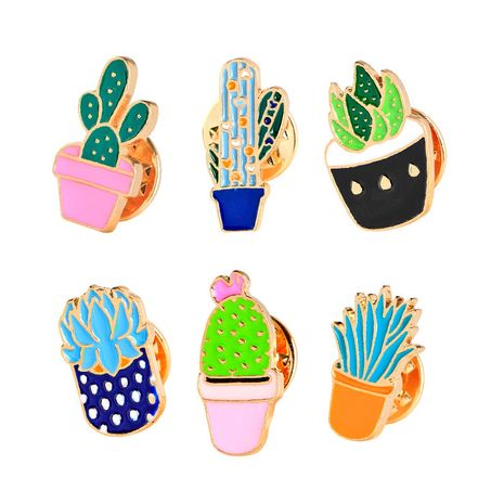 Cartoon fashion cactus potted set brooch collar needle clothing accessories bag accessories nihaojewelry wholesale NHMO214503's discount tags