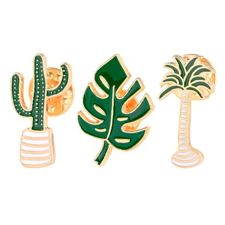 New creative cartoon forest leaves cactus coconut tree brooch clothing accessories nihaojewelry wholesale NHMO214506's discount tags