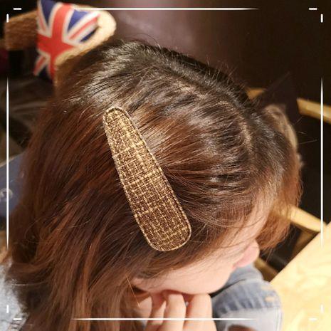 Girl heart bb clip South Korea's new simple plaid edge clip two pack cheap hair clip set nihaojewelry wholesale NHOF214521's discount tags