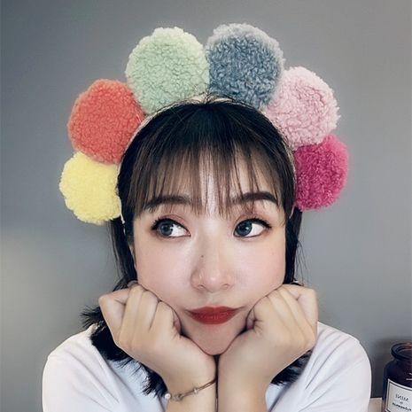 Korean fashion cute headband lamb wool sun flower headband colorful hit color plush wide headband nihaojewelry wholesale NHSM214534's discount tags