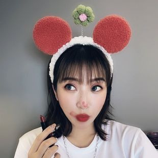 Dibujos animados de moda coreana linda diadema de pelo de cordero diadema de oreja de  pequeña flor maquillaje lavado cara felpa diadema nihaojewelry al por mayor NHSM214538's discount tags
