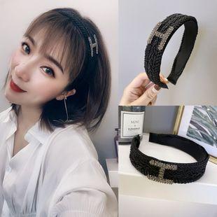 Diadema barroca de moda coreana color sólido H con incrustaciones Diamante checo tejido de ala ancha diadema nihaojewelry al por mayor NHSM214541's discount tags