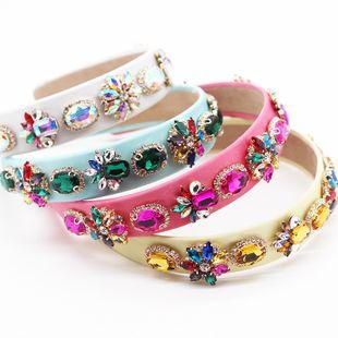 Nueva diadema de moda barroca color rhinestone diadema geométrica salvaje nihaojewelry al por mayor NHWJ214553's discount tags