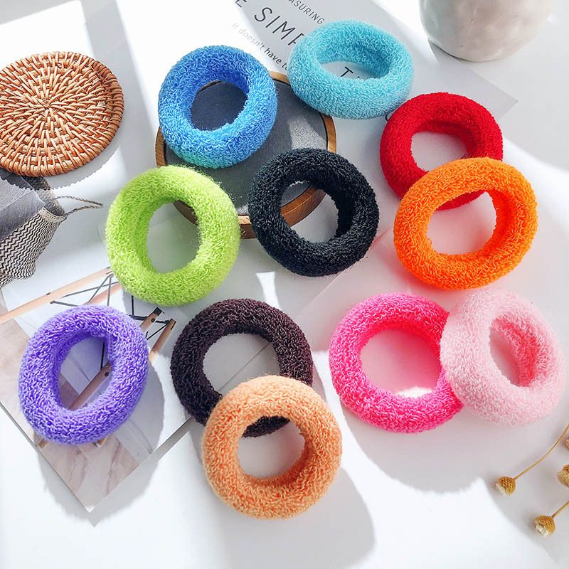 Korean new candy color high elastic hair rope cute wild color towel ring thick section hair cheap scrunchies wholesale NHPF214564