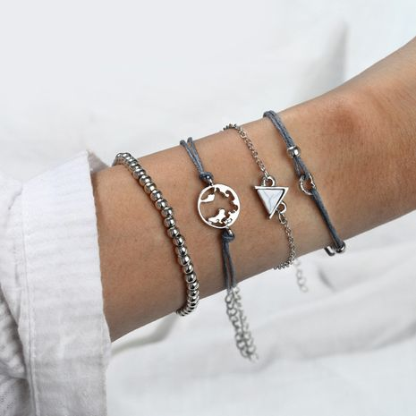 New alloy round bead chain triangle hollow map love woven bracelet set nihaojewelry wholesale NHPF214568's discount tags