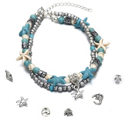 Fashion double anklet conch starfish wave rice beads yoga beach turtle pendant anklet nihaojewelry wholesale NHPF214581