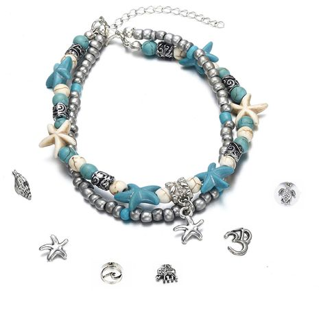 Fashion double anklet conch starfish wave rice beads yoga beach turtle pendant anklet nihaojewelry wholesale NHPF214581's discount tags