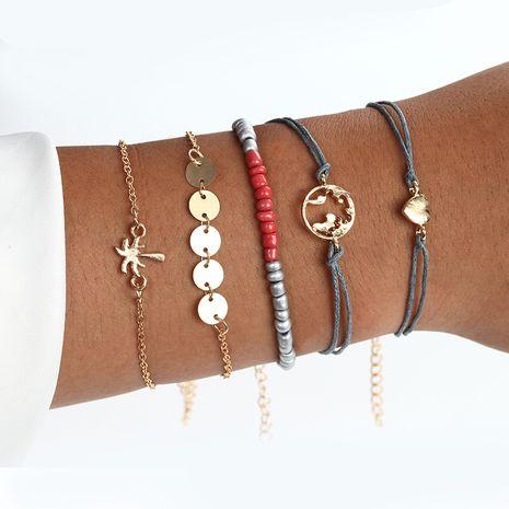 New minimalist fashion jewelry alloy coconut palm disc love braided rope bead bracelet five-piece set nihaojewelry wholesale NHPF214583's discount tags