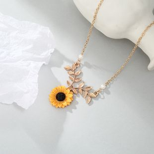 New fashion pearl cute sunflower necklace nihaojewelry wholesale NHPF214590's discount tags