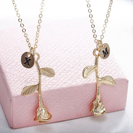New Fashion Simple 26 English Alphabet Alloy Necklace Romantic Rose Pendant Necklace nihaojewelry Wholesale NHPF214591's discount tags