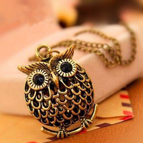 New retro golden wisp empty golden owl necklace nihaojewelry wholesale NHPF214593's discount tags