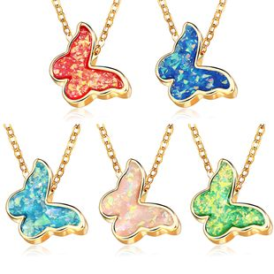 New fashion multicolor butterfly necklace creative retro single layer butterfly wild necklace nihaojewelry wholesale NHYI214611's discount tags