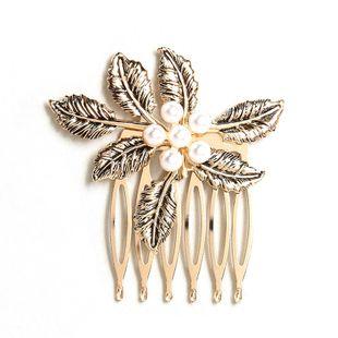 El nuevo peine retro del pelo del diamante insertó el peine deja la horquilla de la moda de la perla al por mayor NHHN214614's discount tags