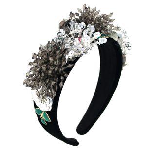 Diadema de flores de cristal barroco exagerada diadema de bolas de flores geométricas de color nihaojewelry al por mayor NHCO214626's discount tags
