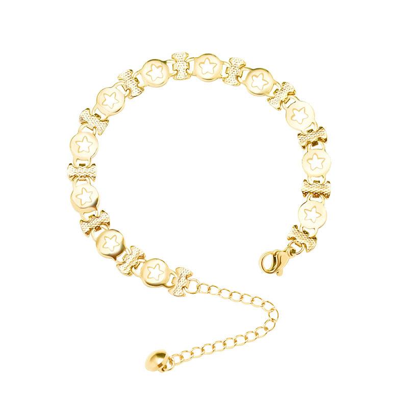 New handmade titanium steel chain bracelet three-layer real gold plating simple bracelet nihaojewelry wholesale NHOK214526