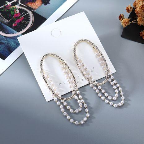 Nouveau véritable plaqué or rétro sauvage simple créatif exagéré mode creux cristal de perle S925 argent aiguille boucles d'oreilles en cuivre nihaojewelry gros NHPS214638's discount tags