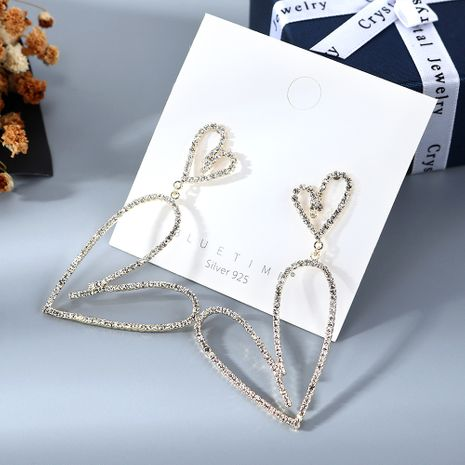Coréen plaqué or personnalité sauvage simple petit frais pêche coeur cristal S925 argent aiguille cuivre boucles d'oreilles nihaojewelry gros NHPS214639's discount tags
