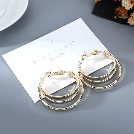 Coréen plaqué or simple mode demi cercle creux S925 argent aiguille cuivre boucles d'oreilles nihaojewelry gros NHPS214640's discount tags