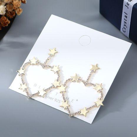 Coréen plaqué or sauvage mode créative populaire pêche coeur étoile cristal S925 argent aiguille cuivre boucles d'oreilles nihaojewelry gros NHPS214642's discount tags