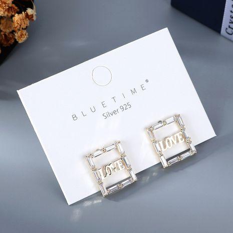 Coréen plaqué or simple sauvage mode amour lettre cristal verre S925 argent aiguille cuivre boucles d'oreilles nihaojewelry gros NHPS214643's discount tags
