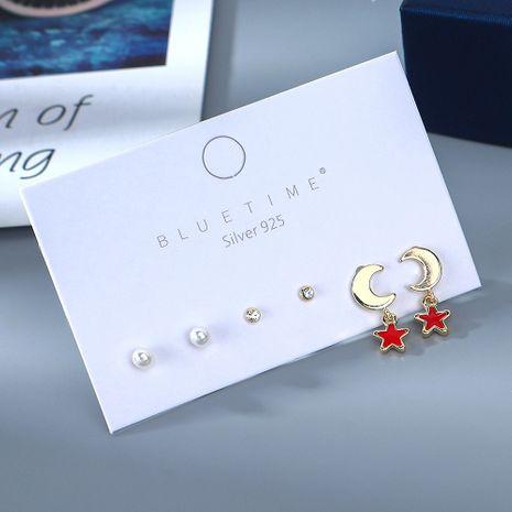 Le nouveau véritable créneau créatif plaqué or populaire populaire perle Xingyue S925 boucles d'oreilles en cuivre aiguille d'argent NHPS214662's discount tags