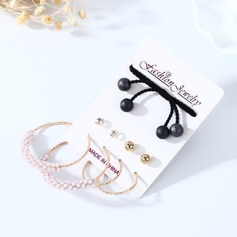 Coréen rétro simple tendance sauvage perle boucle d'oreille bande de cheveux ensemble nihaojewelry gros NHPS214665's discount tags