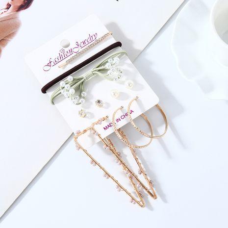 Nouveau doux et sauvage rétro mode perle strass boucles d'oreilles en épingle à cheveux ensemble nihaojewelry gros NHPS214667's discount tags