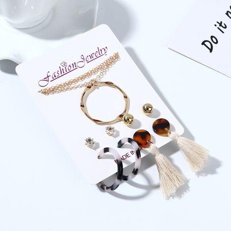 Coréenne nouvelle sauvage mode créative résine petit cercle frais collier boucle d'oreille ensemble nihaojewelry gros NHPS214672's discount tags