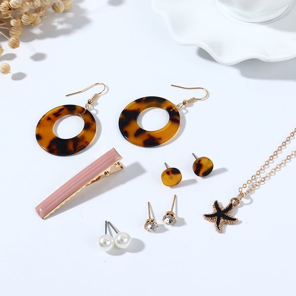 Simple and wild trend leopard fashion starfish resin pearl simple earrings necklace hairpin set nihaojewelry wholesale NHPS214674