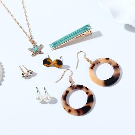 Coréenne nouvelle mode sauvage résine étoiles de mer boucles d'oreilles perles mignon collier en épingle à cheveux ensemble nihaojewelry gros NHPS214677's discount tags
