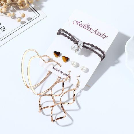 Rétro créatif exagéré sauvage résine perle amour boucles d'oreilles bande de cheveux ensemble nihaojewelry gros NHPS214678's discount tags