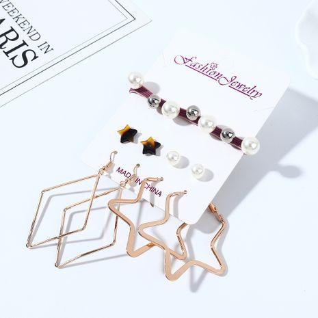 Coréenne créative sauvage exagérée mode résine petites étoiles perles boucles d'oreilles bandeau ensemble nihaojewelry gros NHPS214684's discount tags