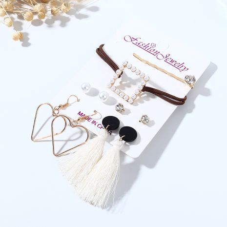 Rétro mode sauvage exagération créative petit coeur de pêche boucles d'oreilles en perles en épingle à cheveux ensemble nihaojewelry en gros NHPS214686's discount tags
