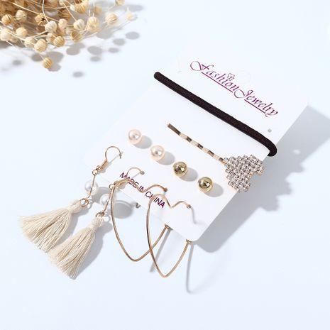 Coréenne nouvelle tendance populaire tempérament sauvage mode boucles d'oreilles soignées en épingle à cheveux ensemble nihaojewelry gros NHPS214688's discount tags