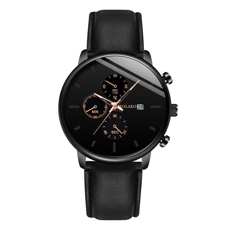 New fashion ultra-thin men's business watch men's calendar belt watch men's three-eye belt watch nihaojewelry wholesale NHSY214699