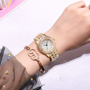 Korean new metal chain compact female quartz watch fashion diamond-set Roman scale fashion watch nihaojewelry wholesale NHSY214710's discount tags
