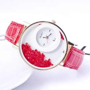 Nueva moda coreana roja corriendo cinturón de diamantes reloj doble ronda rodando diamante multicolor casual señoras reloj nihaojewelry al por mayor NHSY214715's discount tags