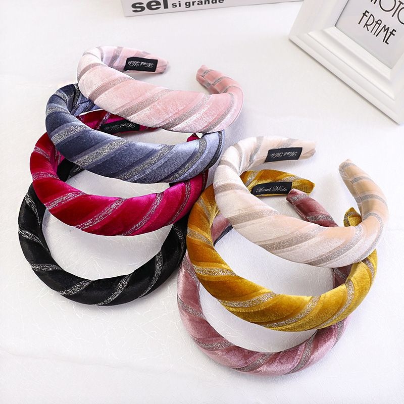Korean fashion new simple gold velvet fabric bronzing stripe hair band wholesale nihaojewelry NHDM214726