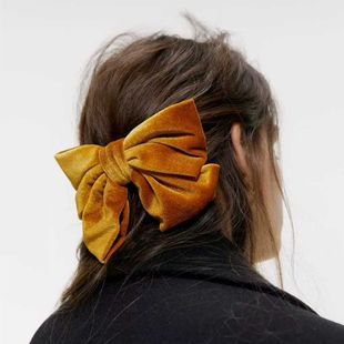 New fashion Korean velvet bow hairpin velvet gold velvet cloth spring clip nihaojewelry wholesale NHDM214727's discount tags