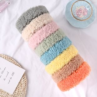 South Korea's new cute lamb hair headband candy color wide-brimmed headband plush cheap headband wholesale NHDM214728's discount tags