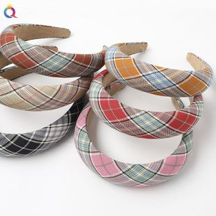 New Fashion Leather Sponge Hair Hoop Cloth Plaid Thick Wrapping Broadband Headband nihaojewelry Wholesale NHDM214738's discount tags