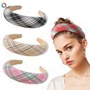New Fashion Leather Sponge Hair Hoop Cloth Plaid Thick Wrapping Broadband Headband nihaojewelry Wholesale NHDM214738