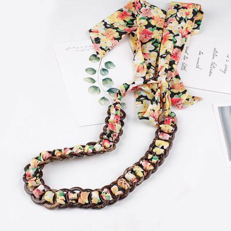 Nouvelle robe de mode coréenne, ceinture en tissu décoratif, coquille de noix de coco, joint de taille mince tissé, chaîne de taille, ruban en mousseline de soie, ceinture noeud papillon NHDM214748's discount tags