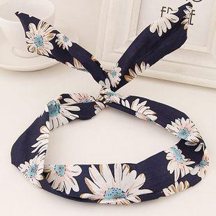 Banda de pelo de tela coreana moda lindo conejo estampado nihaojewelry al por mayor NHSC214965's discount tags